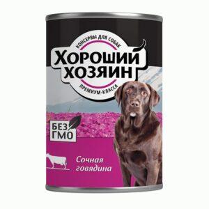 Хороший Хозяин, консервы для собак сочная говядина, 750 гр