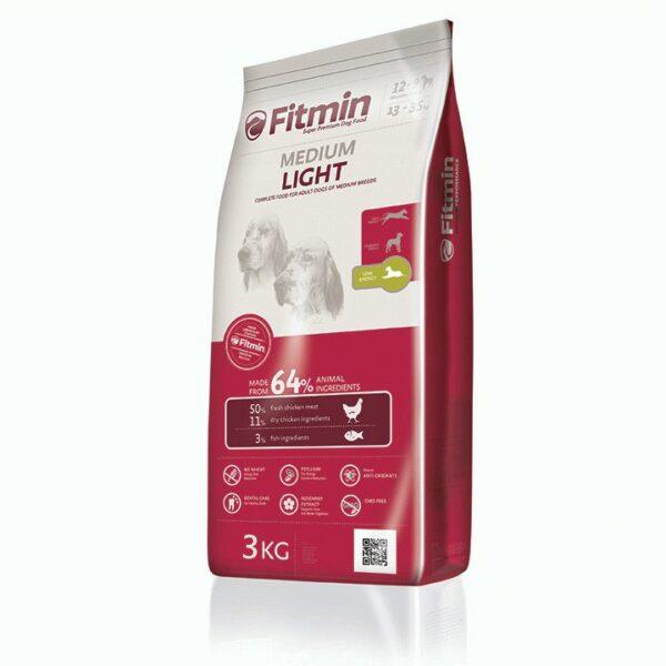 Fitmin dog Medium Light,корм для взрослых собак средних пород со сниженным содержанием энергии, 3 кг
