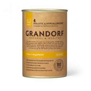 GRANDORF консервы с уткой и индейкой для взрослых собак всех пород, 400 гр