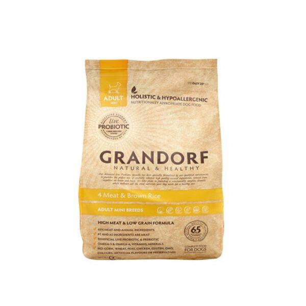 GRANDORF DOG 4 Meat&Rice PROBIOTIC MINI, сухой корм для собак мелких пород 4 мяса с рисом и пробиотиками, 3 кг