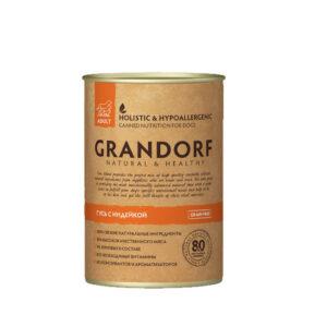 GRANDORF Консервы Гусь с Индейкой для Взрослых собак Натуральное беззерновое гипоаллергенное питание из мяса гуся и индейки. Идеально для собак с чувствительным пищеварением или склонных к аллергии. Мясо гуся отличается обилием белка и быстро усваивающимися аминокислотами. Содержит необходимых организму жиры и богатый витаминами и минералами химический состав. Обладает целым рядом полезных свойств для организма питомца. Мясо индейки является диетическим и низкокаллорийным. Содержит витамины группы B, цинк и железо. А также лецитин, который нормализует обмен холестерина и необходимые аминокислоты. 100% натуральное мясное питание 80% мяса (40% мясо гуся, 40% мясо индейки) 0% зерновых в составе (GRAIN FREE) Деликатный способ приготовления Необходимые витамины и минералы Сохранены все питательные вещества Не содержит: зерновые, субпродукты, гормоны, антибиотики, консерванты, красители, ароматизаторы, сою, глютен и ГМО Состав: Гусь 40%, индейка 40%, собственный бульон 13,1%, минералы 6,4%, витаминно-минеральный премикс 0,4%, глюкозамин 0,1% Гарантированный анализ: Белок 9,5%, жир 4,5%, клетчатка 0,5%, зола 2,0%, кальций 0,3%, фосфор 0,2%, влажность 81%. Пищевые добавки: Витамин А 1220 МЕ, витамин D3 150 МЕ, витамин Е 11 мг, цинк 16 мг, железо 6,50 мг, йод 0,38 мг, медь 1,2 мг, марганец 1,13 мг. Энергетическая ценность: 111 ккал на 100 г.