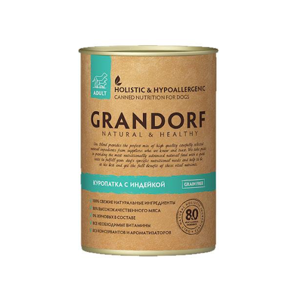 Grandorf консервы для собак куропатка с индейкой, 400 гр