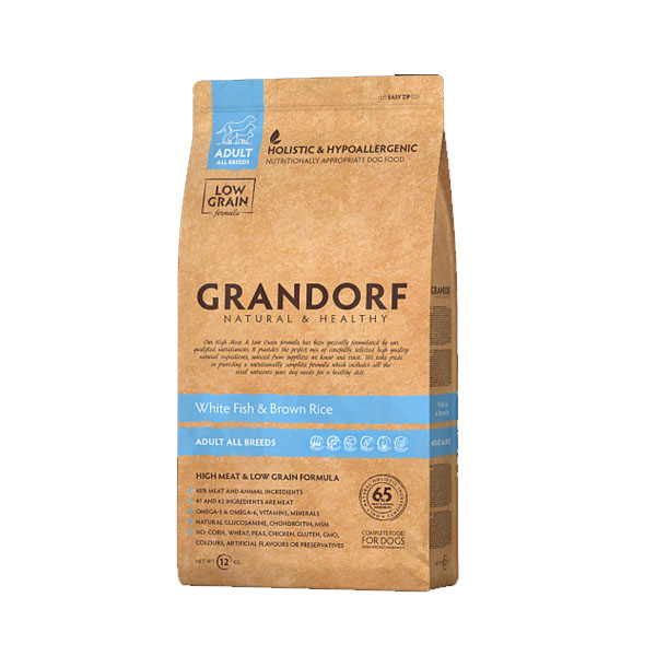 Grandorf White Fish & Rice, сухой корм для собак с белой рыбой и рисом, 12 кг
