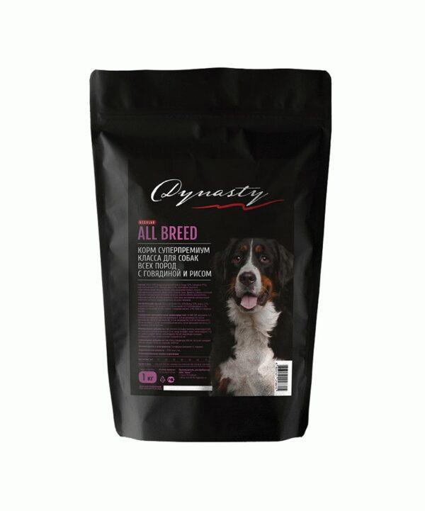 Династия, сухой корм для собак всех пород с мясом говядины и рисом, 1 кг