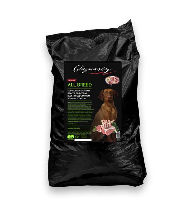 Династия, сухой корм для собак всех пород с мясом ягненка и рисом, 14 кг