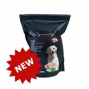 Династия, сухой корм для собак всех пород с рыбой и рисом, 1 кг