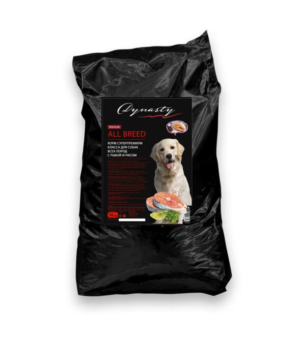 Династия, сухой корм для собак всех пород с рыбой и рисом, 14 кг