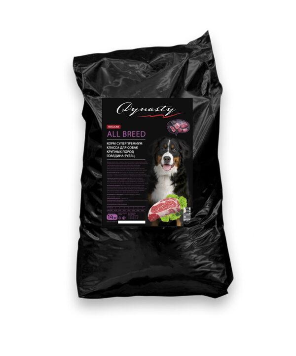Династия, сухой корм для собак крупных пород говядина-рубец, 14 кг