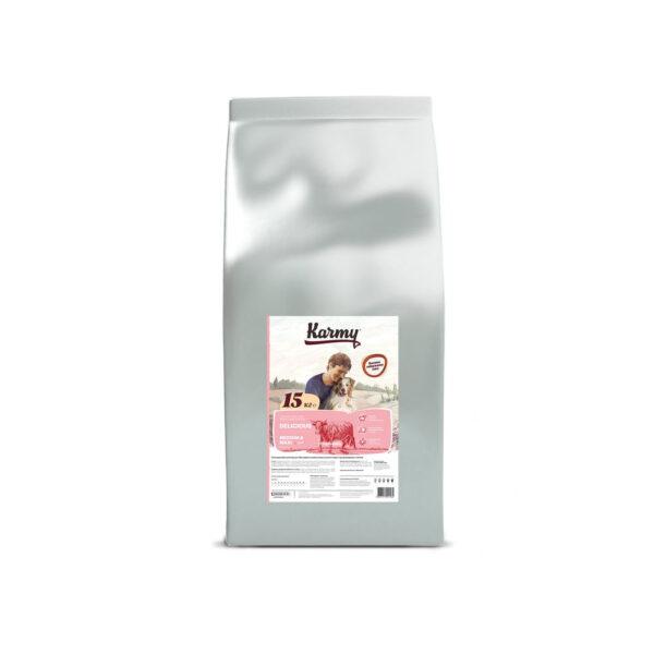 Karmy Delicious Medium&Maxi, сухой корм для собак средних и крупных пород, привередливых в питании, с телятиной, 15 кг