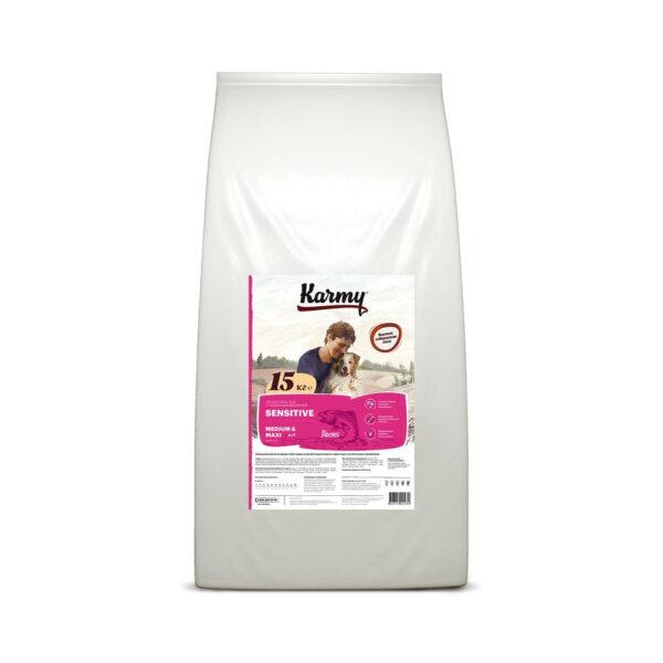 Karmy Sensetive Medium & Maxi, сухой корм для взрослых собак средних и крупных пород с чувствительным пищеварением с лососем, 15 кг