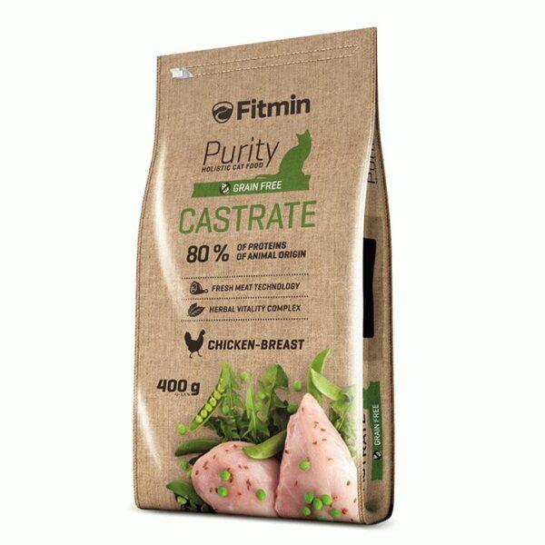 Fitmin Cat Purity Castrate, беззерновой корм для взрослых кастрированных и стерилизованных кошек, 400 гр