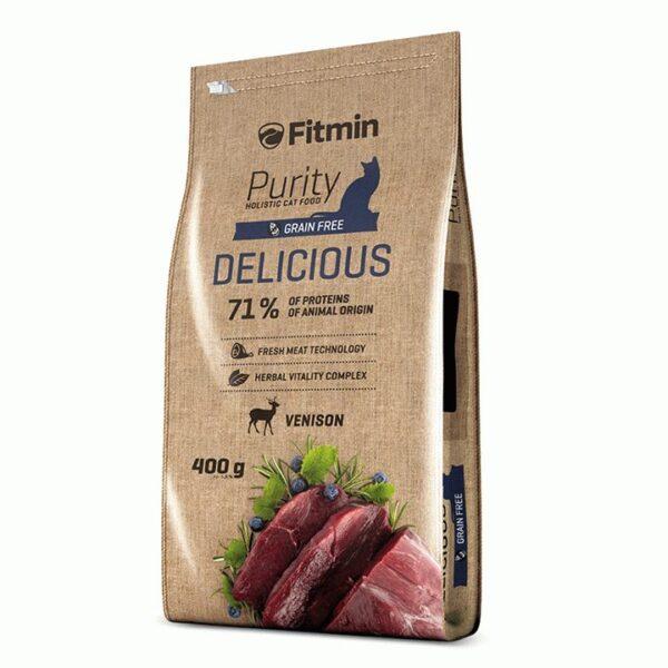 Fitmin Cat Purity Delicious, беззерновой корм для взрослых кошек с дичью, 400 гр