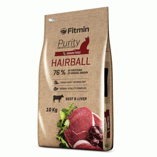 Fitmin Cat Purity Hairball, беззерновой корм для взрослых длинношерстных кошек с говядиной, 10 кг