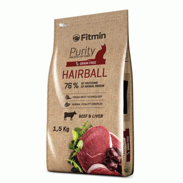 Fitmin Cat Purity Hairball, беззерновой корм для взрослых длинношерстных кошек с говядиной, 1.5 кг