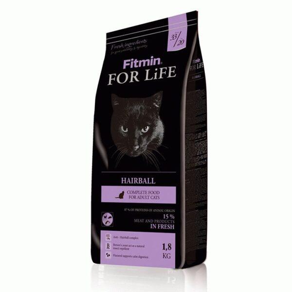 Fitmin cat For Life Hairball, корм для взрослых длинношерстных кошек, 1.8 кг