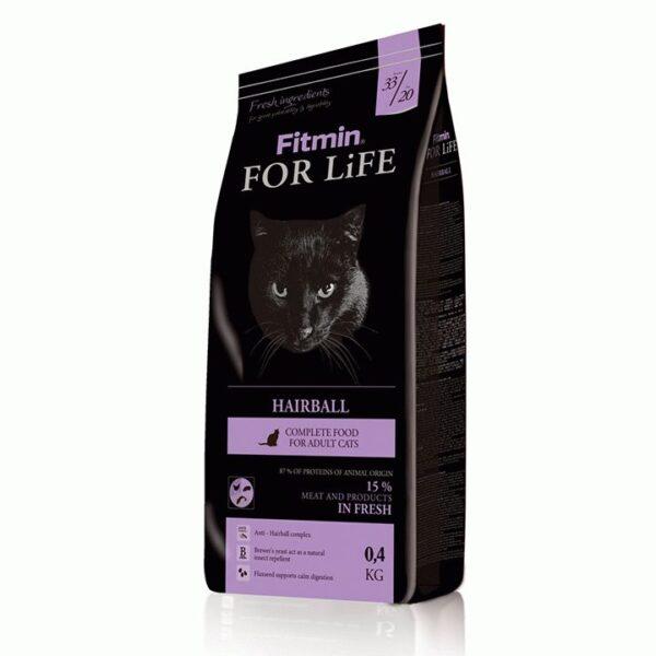 Fitmin cat For Life Hairball, корм для взрослых длинношерстных кошек, 400 гр