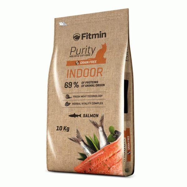 Fitmin cat Purity Indoor, беззерновой корм для взрослых взрослых кошек живущих в помещении с рыбой, 10 кг