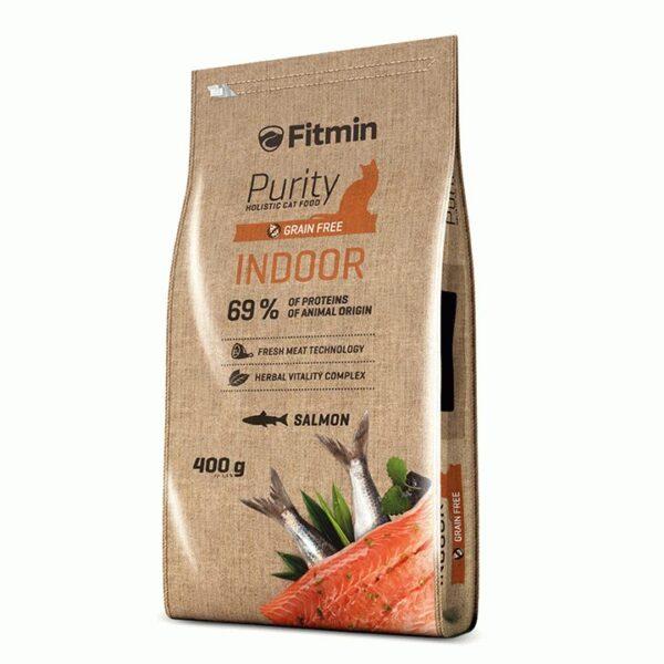 Fitmin cat Purity Indoor, беззерновой корм для взрослых взрослых кошек живущих в помещении с рыбой, 400 гр
