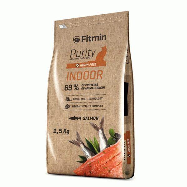 Fitmin cat Purity Indoor, беззерновой корм для взрослых взрослых кошек живущих в помещении с рыбой, 1.5 кг