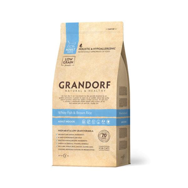 GRANDORF CAT Fish&Rice INDOOR, корм для кошек с белой рыбой и рисом, 400 гр