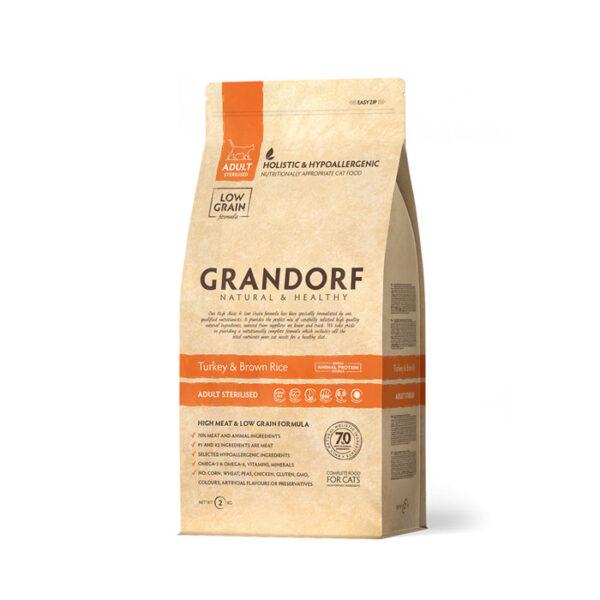 GRANDORF CAT Turkey&Rice STERILISED, корм для стерилизованных кошек с индейкой и рисом, 2 кг