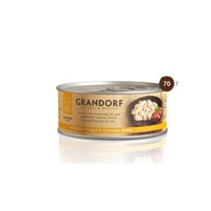 Grandorf, консервы для кошек грудка с утиным филе, 70 гр