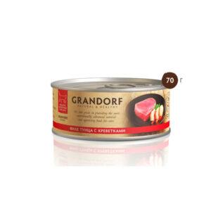 Grandorf, консервы для кошек филе тунца с креветками, 70 гр