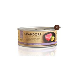 Grandorf, консервы для кошек филе тунца с мидиями, 70 гр