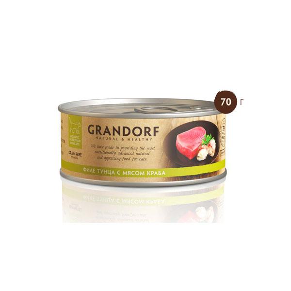 Grandorf, консервы для кошек филе тунца с мясом краба, 70 гр
