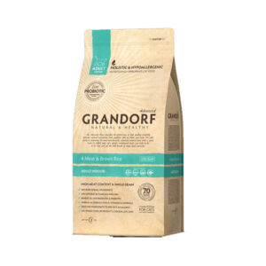 Grandorf 4Meat & Brown Rice, корм для домашних кошек четыре вида мяса с бурым рисом, 400 гр