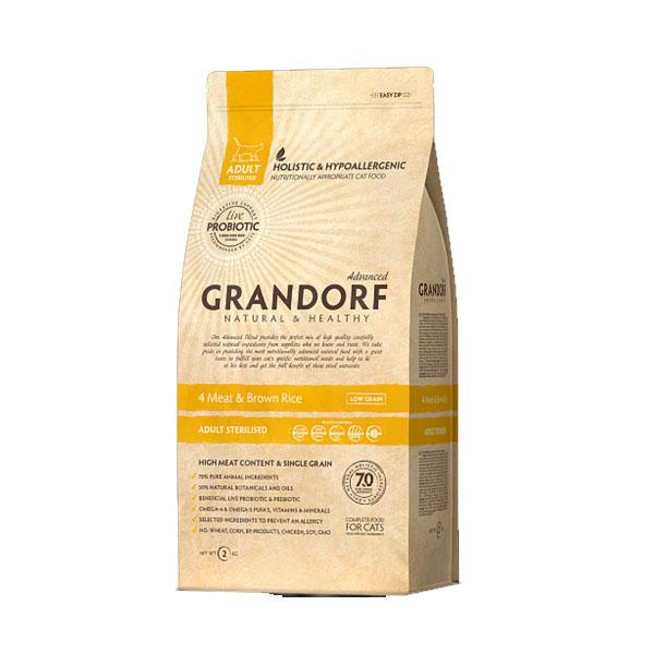 Grandorf 4Meat & Brown Rice, корм для стерилизованных кошек четыре вида мяса с бурым рисом, 2 кг