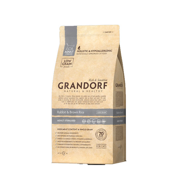 Grandorf Rabbit & Brown Rice, корм для стерилизованных кошек с кроликом и рисом, 2 кг