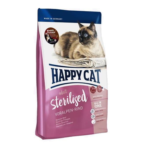 Happy Cat Sterilised, альпийская говядина сухой корм для стерилизованных кошек, 10 кг