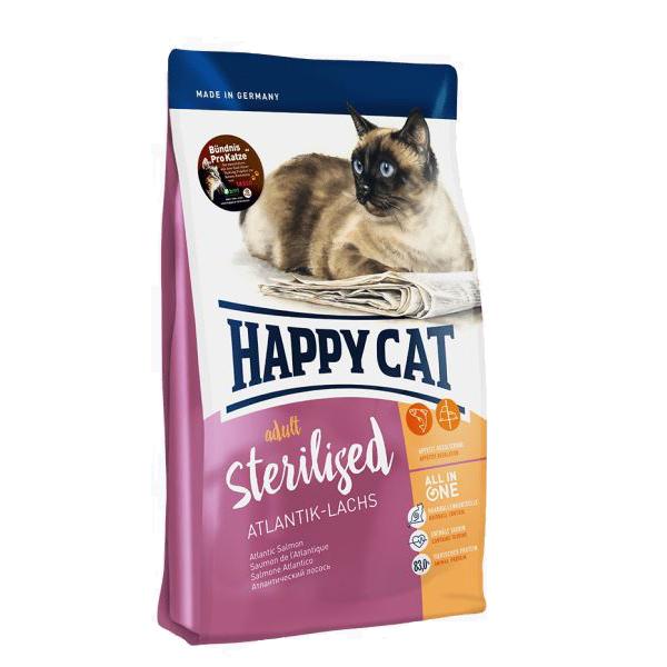Happy Cat Sterilised, атлантический лосось сухой корм для стерилизованных кошек, 10 кг