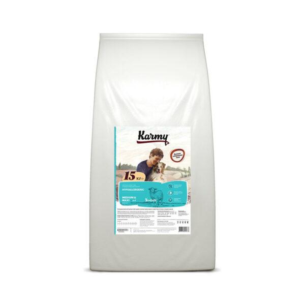 Karmy Hipoallergenic Medium & Maxi, сухой корм для взрослых собак средних и крупных пород при аллергии с ягненком, 15 кг