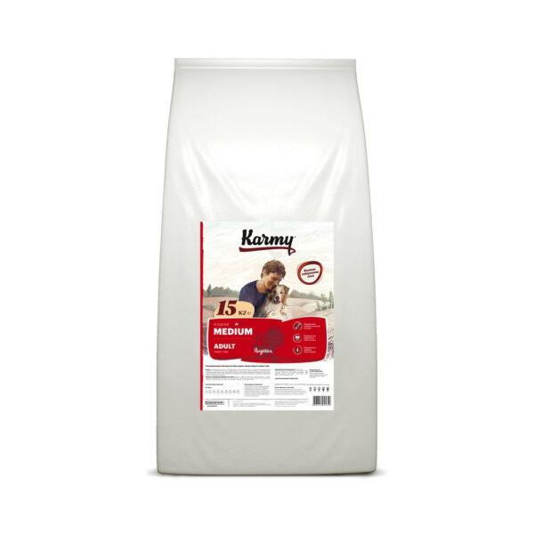 Karmy Medium Adult, сухой корм для взрослых собак средних пород с индейкой, 15 кг