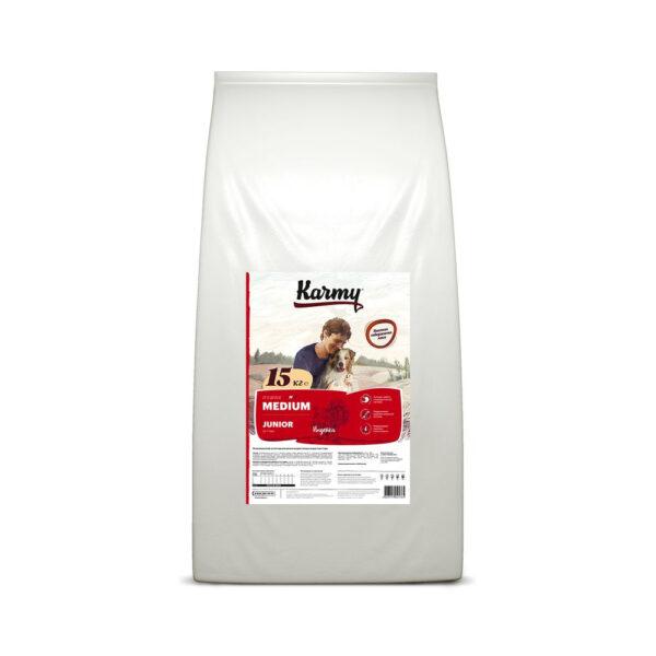 Karmy Medium Junior, сухой корм для щенков средних пород с индейкой, 15 кг