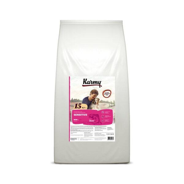 Karmy Mini Sensetive, сухой корм для взрослых собак мелких пород с чувствительным пищеварением с лососем, 15 кг