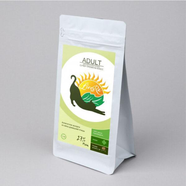 LiveRa Adult Cat, полнорационный сухой корм для взрослых кошек, 3 кг