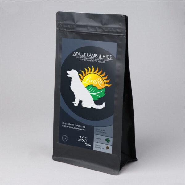LiveRa Lamb & Rice, корм для взрослых собак с ягненком и рисом, 15 кг