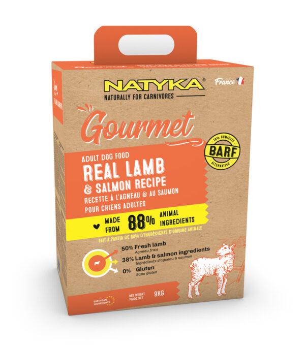 Natyka, сухой корм для собак всех пород с ягненком и лососем, 3 кг