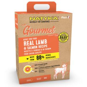 Natyka, сухой корм для собак всех пород с ягненком и лососем, 9 кг