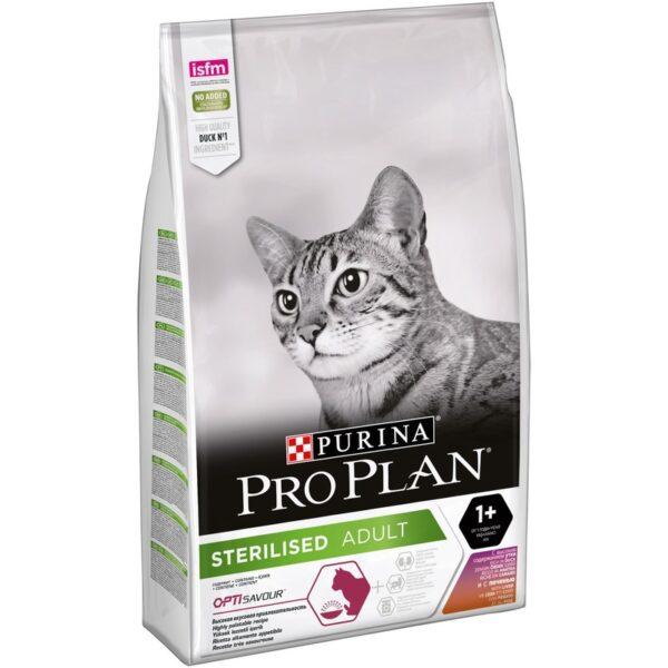 Purina Pro Plan Sterilised, корм для стерилизованных и кастрированных кошек с уткой и печенью, 10 кг