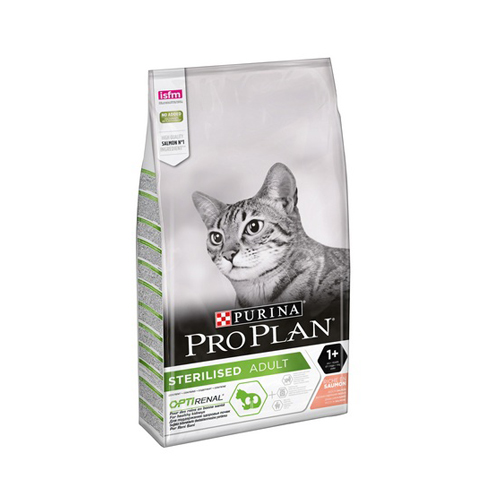 Purina Pro Plan Sterilised Salmon, корм для взрослых кастрированных и стерилизованных кошек с лососем, 3 кг